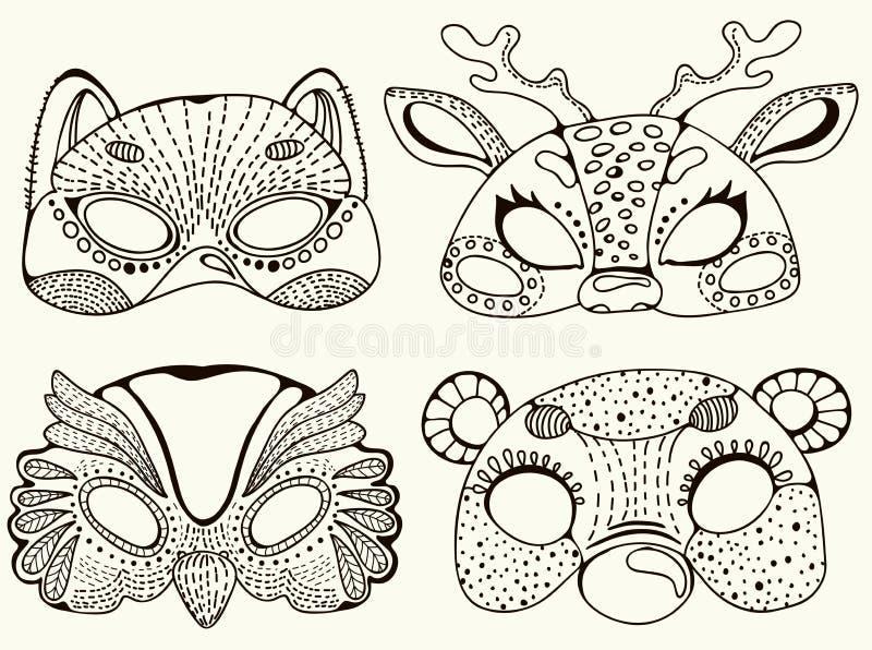 逗人喜爱的动物面具 向量例证