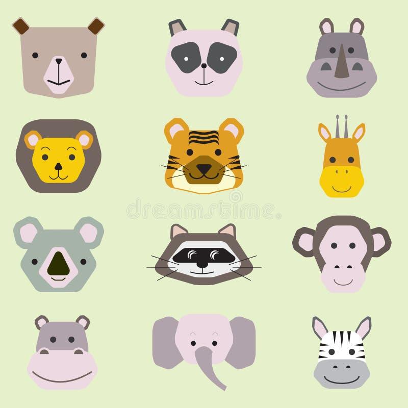 逗人喜爱的动物面孔的传染媒介汇集,婴孩设计的象集合 库存例证