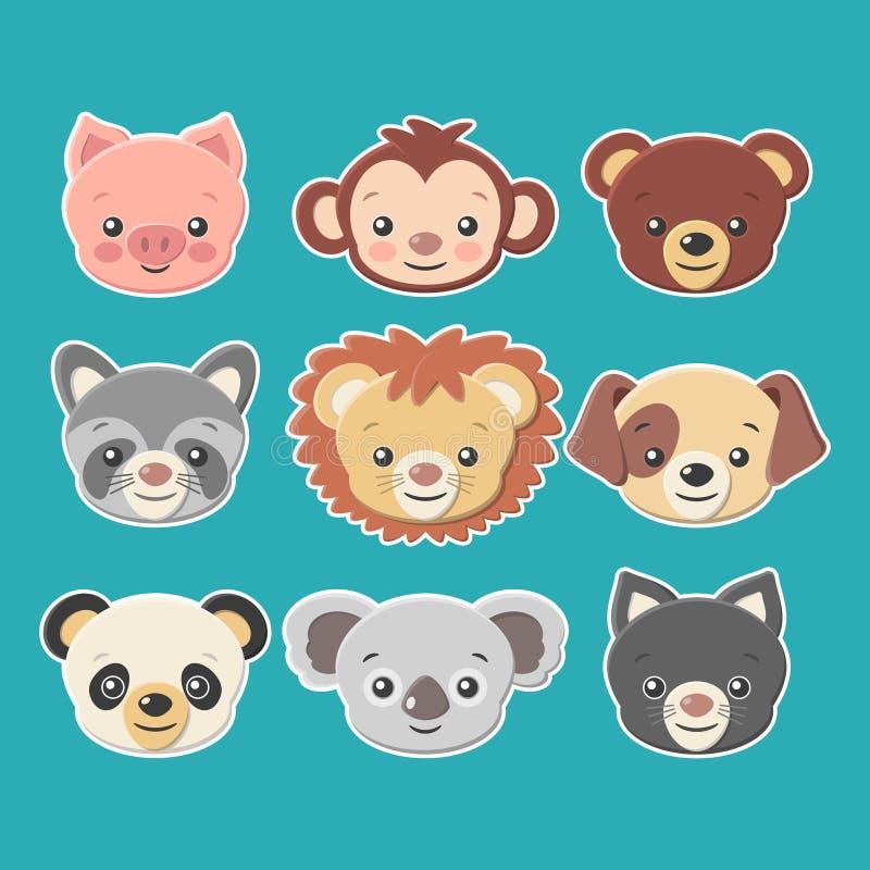 逗人喜爱的动物面孔贴纸设置-导航eps8 向量例证