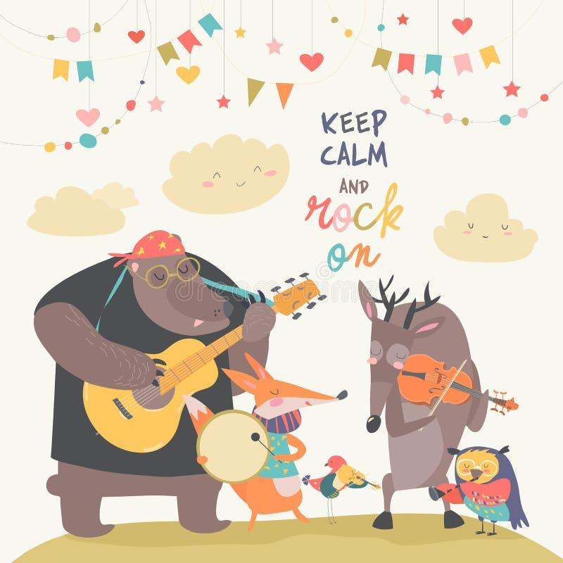 逗人喜爱的动物音乐带 皇族释放例证
