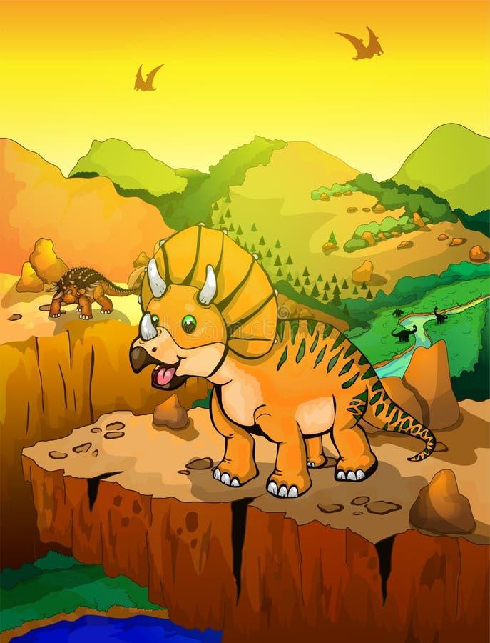 逗人喜爱的动画片三角恐龙有风景背景 皇族释放例证