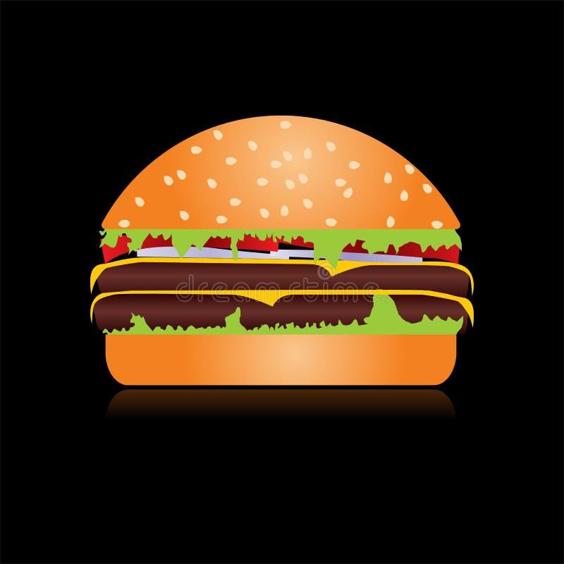 逗人喜爱的动画片乳酪汉堡用双重乳酪 汉堡用沙拉,蕃茄,炸肉排 最小的线型,现代颜色 汉堡包网 库存例证