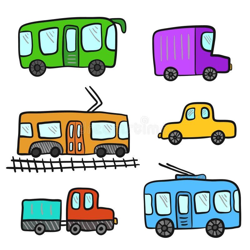 逗人喜爱的动画片五颜六色的乱画城市运输 皇族释放例证
