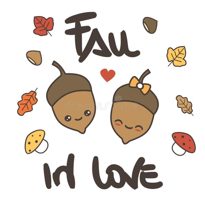 逗人喜爱的动画片传染媒介手拉的字法坠入爱河与橡子、叶子和蘑菇的卡片 向量例证