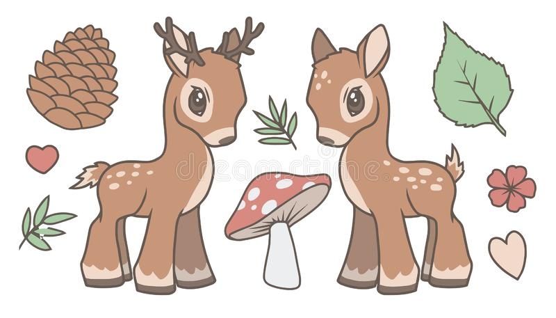 逗人喜爱的动画片传染媒介收藏设置与鹿、雄鹿和森林关系了象叶子、蘑菇、冷杉球果和花的图表 皇族释放例证