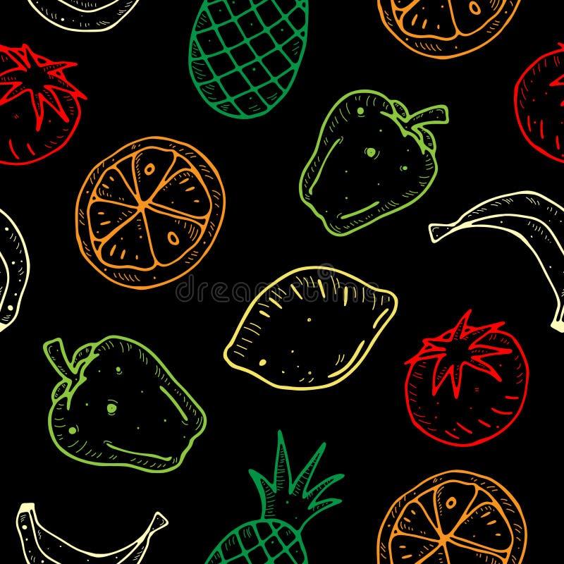 逗人喜爱的动画片传染媒介无缝的样式用水果和蔬菜在黑暗的背景 向量例证
