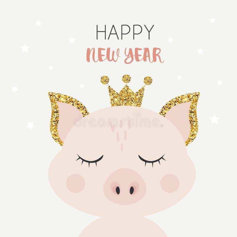 逗人喜爱的动画片传染媒介桃红色猪 新年动物2019年图片