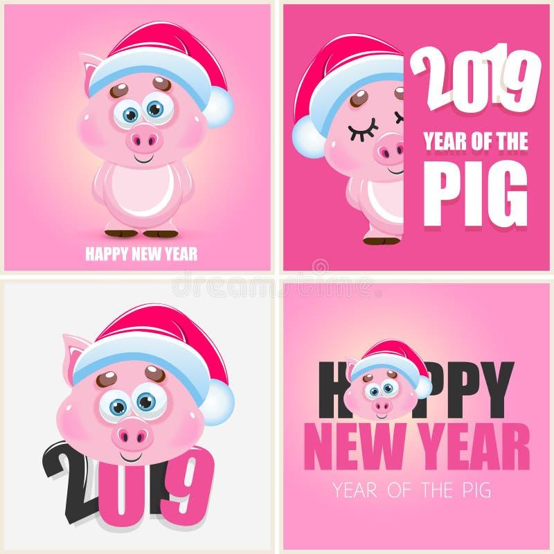 逗人喜爱的动画片传染媒介桃红色猪 新年动物2019年 皇族释放例证