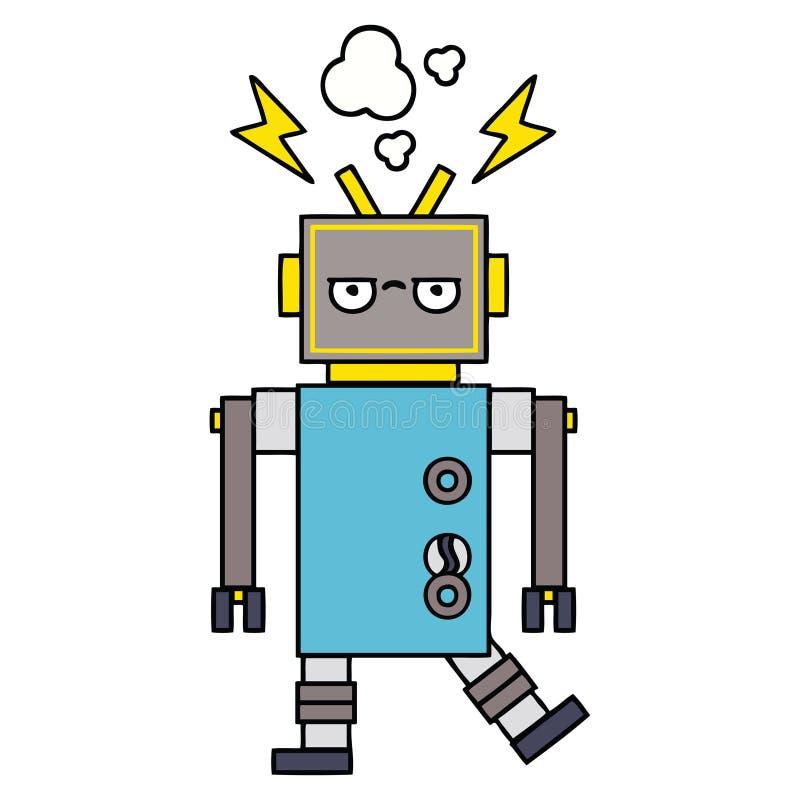 逗人喜爱的动画片发生故障的机器人 库存例证