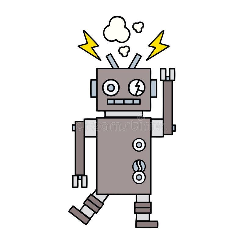 逗人喜爱的动画片发生故障的机器人 向量例证