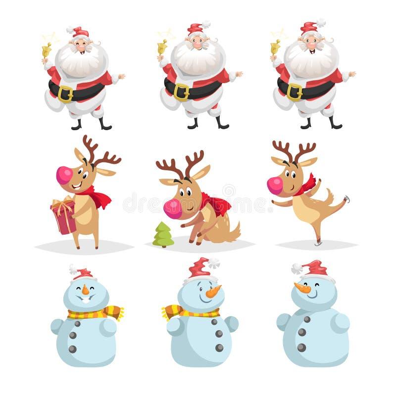 逗人喜爱的动画片圣诞节字符集合 圣诞老人项目、驯鹿和雪人的不同的姿势和情况 快乐的吉祥人 向量例证
