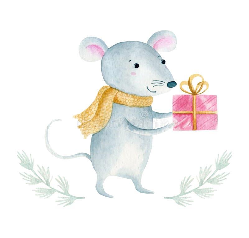 逗人喜爱的动画片圣诞节鼠老鼠 水彩手拉的动物例证 r 图库摄影