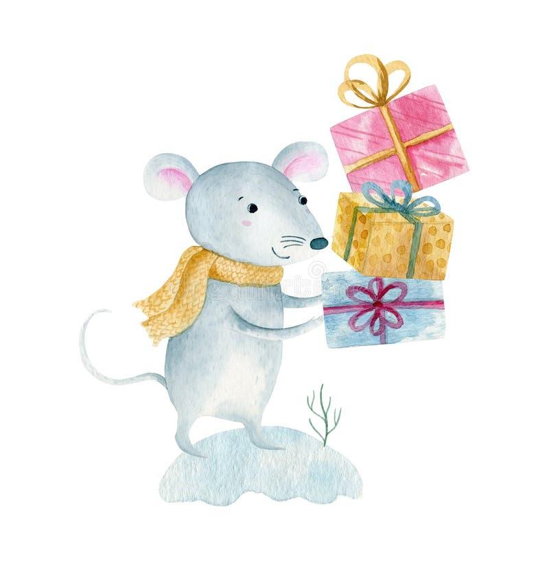 逗人喜爱的动画片圣诞节鼠老鼠 水彩手拉的动物例证 r 免版税库存图片