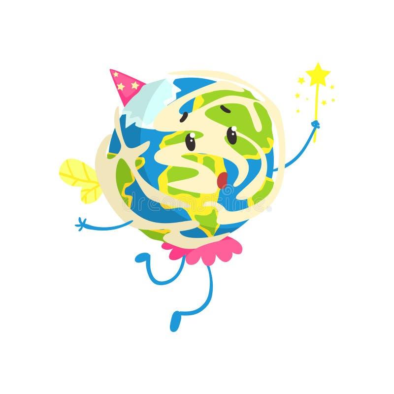逗人喜爱的动画片地球行星佩带的党的帽子和获得桃红色的裙子乐趣,滑稽的地球字符传染媒介例证 库存例证