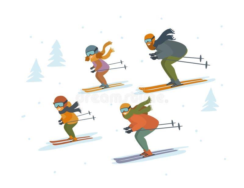 逗人喜爱的动画片家庭滑雪的下坡被隔绝的传染媒介例证冬季体育 向量例证