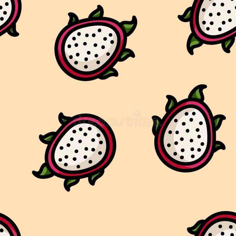 逗人喜爱的动画片平的样式龙果子无缝的样式 皇族释放例证