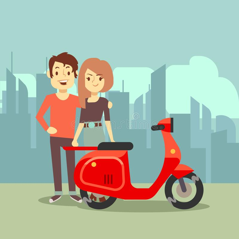 逗人喜爱的动画片年轻恋人和自行车在城市使-现代日期概念环境美化 皇族释放例证