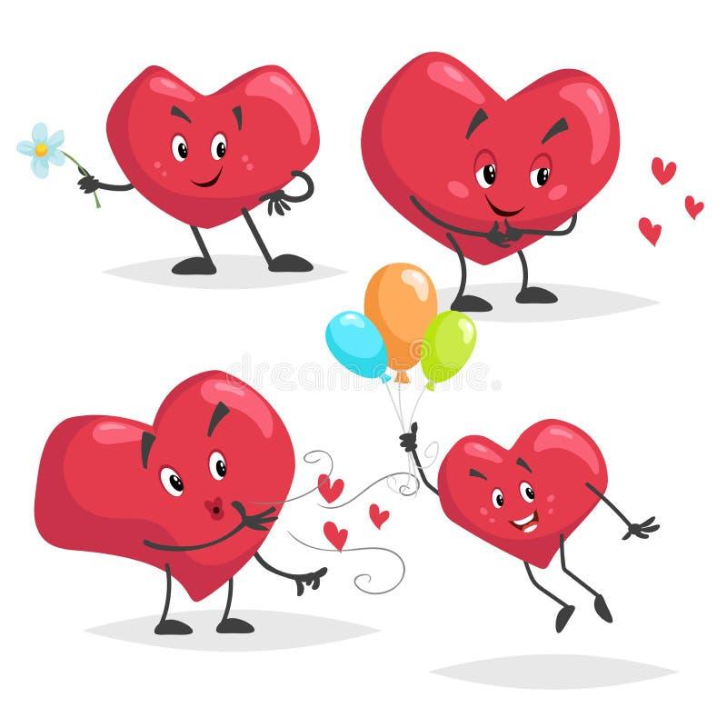 逗人喜爱的动画片心脏字符集合 与花的心脏,给空气亲吻,在气球的飞行 快乐和可爱的吉祥人 瓦伦蒂 库存例证