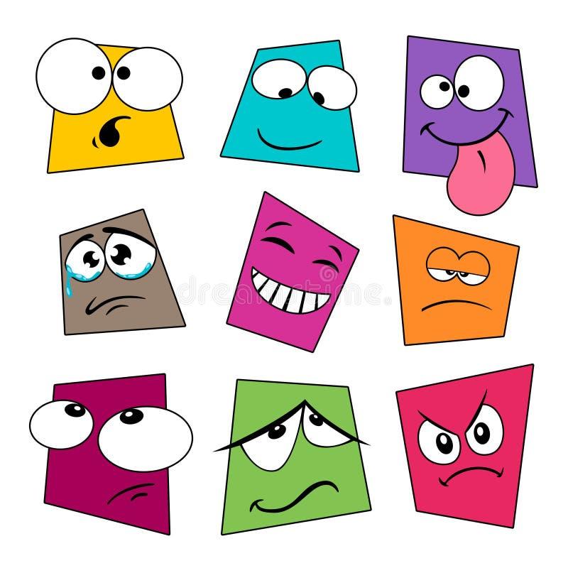 逗人喜爱的动画片情感富有表情的面容收藏 向量例证