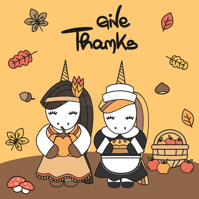 逗人喜爱的动画片手拉的字法印刷术给与当地印地安美国女性独角兽和香客感恩的感谢卡片 皇族释放例证