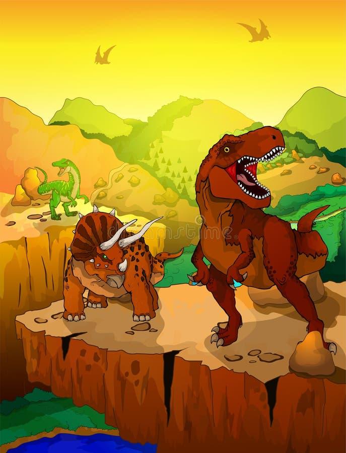 逗人喜爱的动画片暴龙和三角恐龙有风景背景.图片