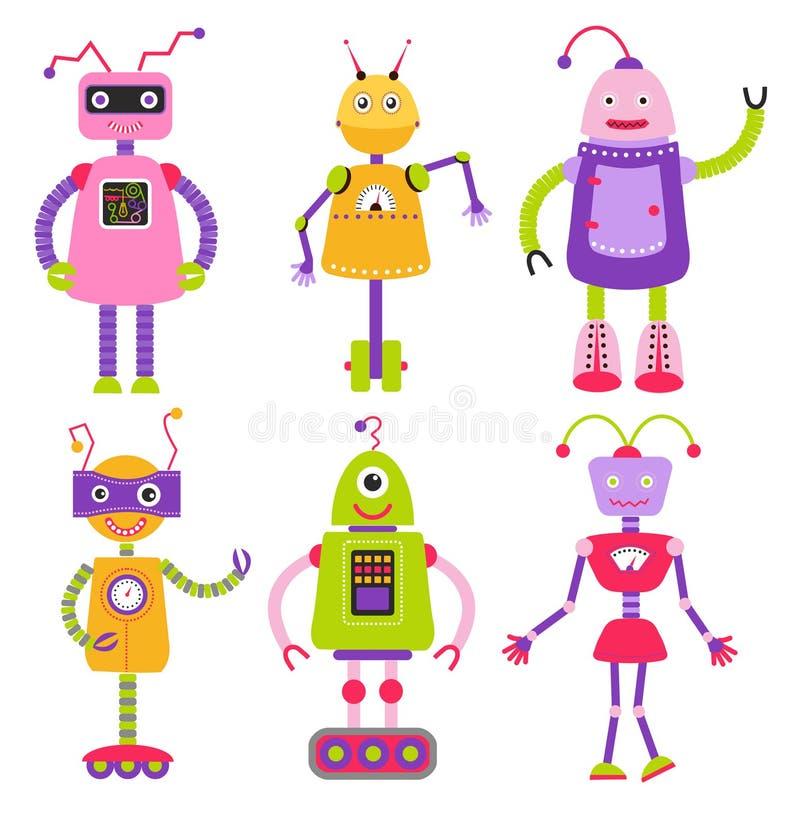 逗人喜爱的动画片机器人集合 女孩的机器人 库存例证