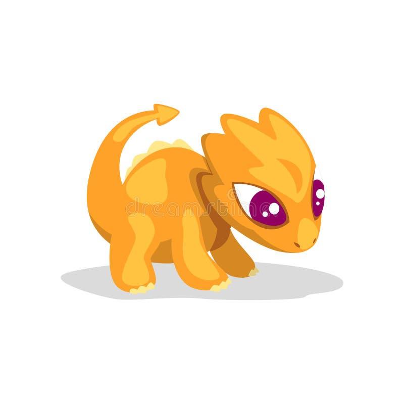 逗人喜爱的动画片橙色婴孩龙,滑稽的在白色背景的幻想动物字符传染媒介例证 库存例证