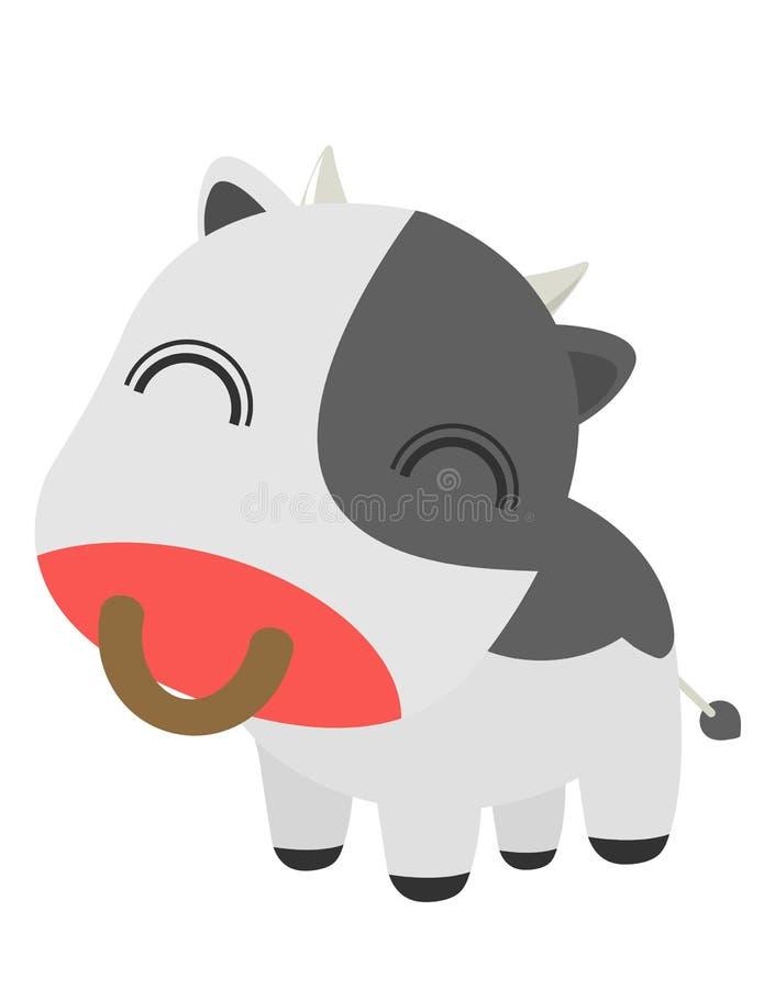 逗人喜爱的动画片母牛例证,传染媒介平的卡通人物例证象设计 隔绝在白色背景,母牛概念 库存例证