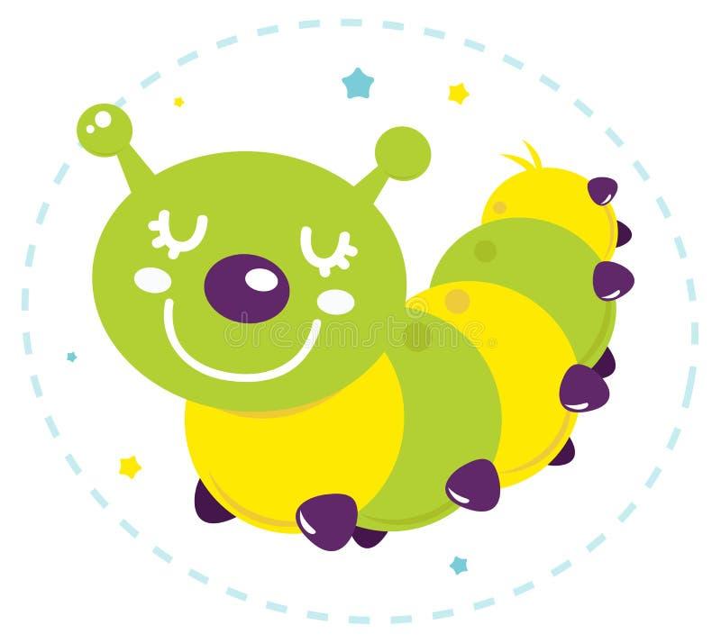 逗人喜爱的动画片毛虫   向量例证