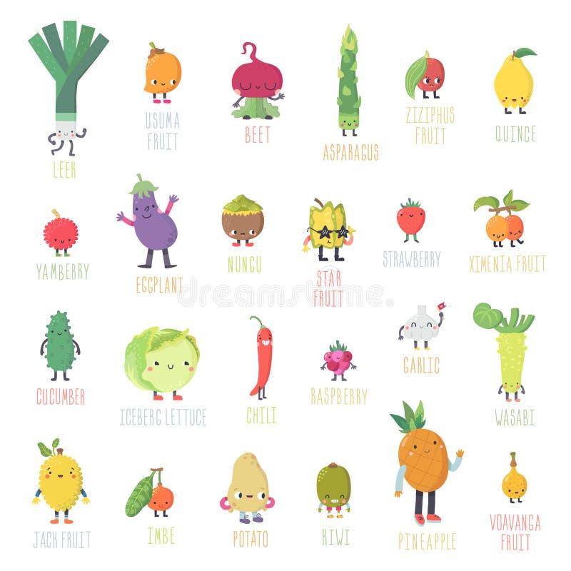 逗人喜爱的动画片活水果和蔬菜传染媒介集合 第二部分 向量例证