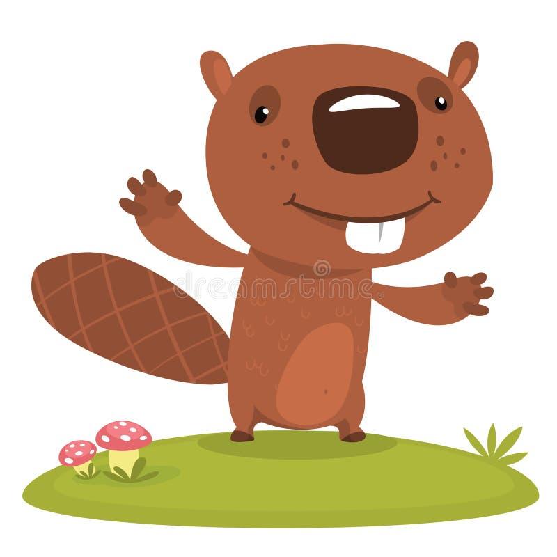 逗人喜爱的动画片海狸 被说明的传染媒介 为印刷品、贴纸、装饰或者儿童图书设计 皇族释放例证