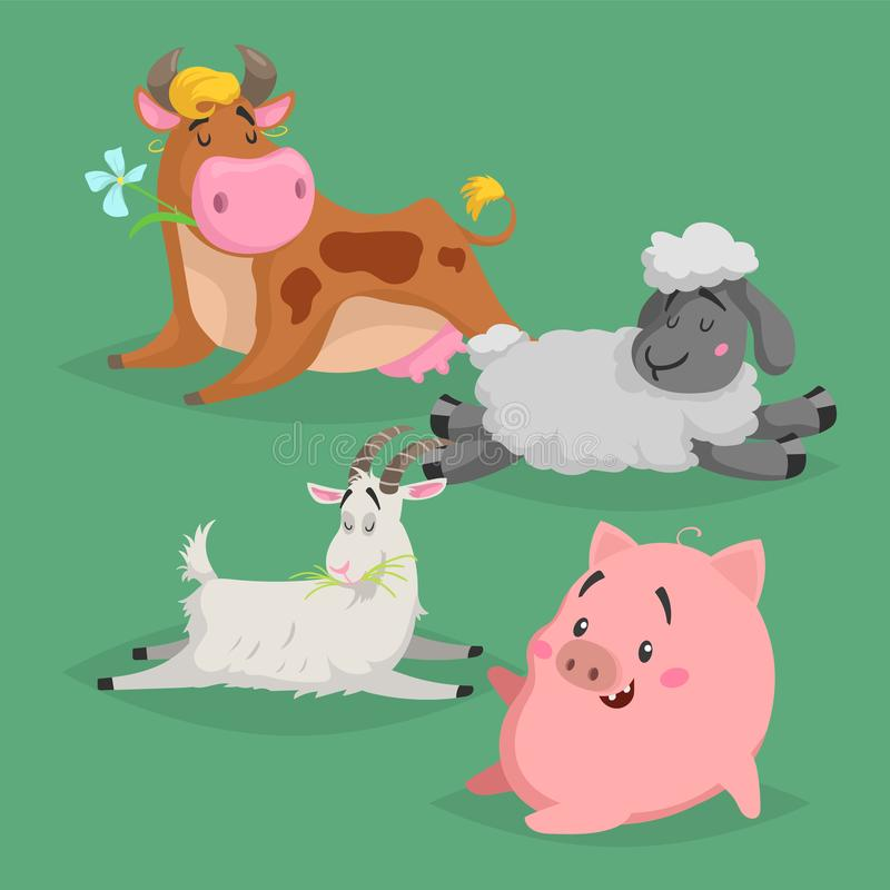 逗人喜爱的动画片牲口集合 睡觉的和放松的动物 毛茸的绵羊、母牛、猪和山羊 传染媒介国内字符illustrat 库存例证