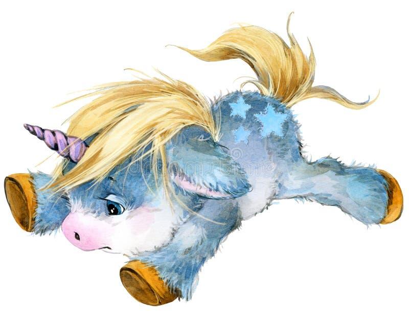 逗人喜爱的动画片独角兽水彩例证 皇族释放例证