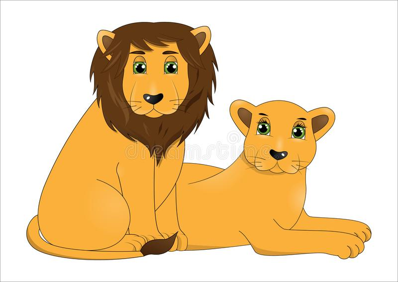 逗人喜爱的动画片狮子夫妇  向量例证