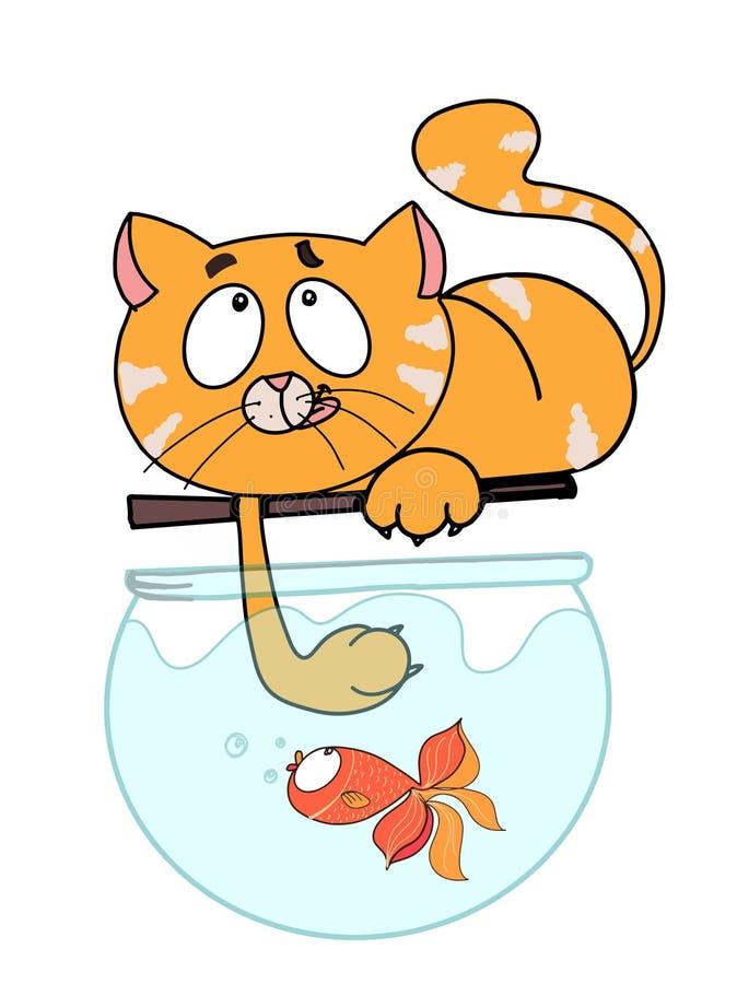 逗人喜爱的动画片猫和鱼着色白色背景动画片例证 库存例证