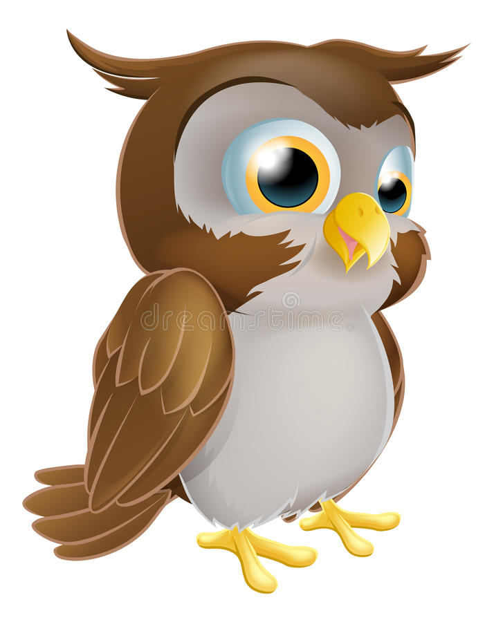 逗人喜爱的动画片猫头鹰 皇族释放例证