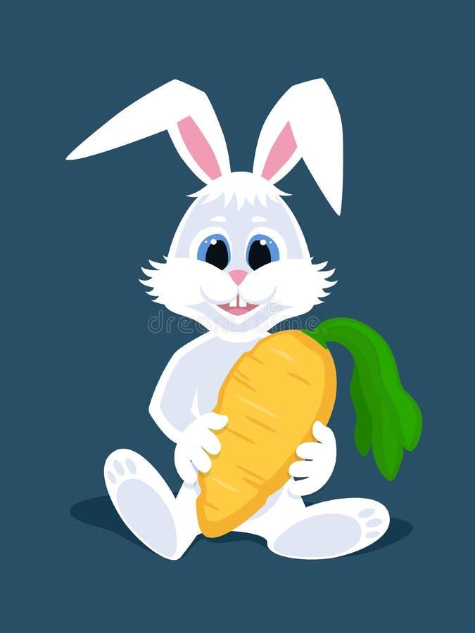 逗人喜爱的动画片白色兔子在他的手上的坐和拿着一棵大红萝卜 卡片的,海报,横幅愉快的复活节兔子 库存例证