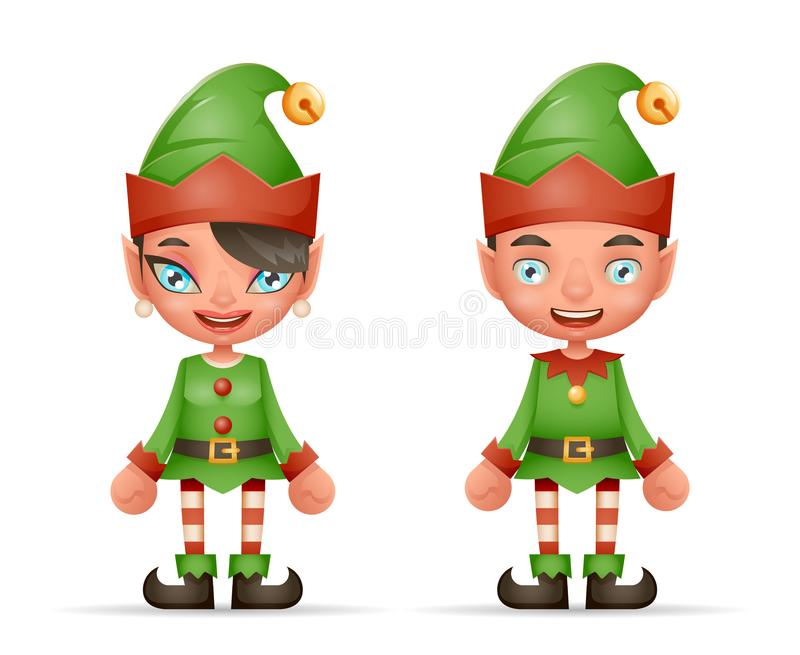 逗人喜爱的动画片矮子男孩和女孩字符圣诞节圣诞老人青少年的象新年假日3d现实设计传染媒介 皇族释放例证