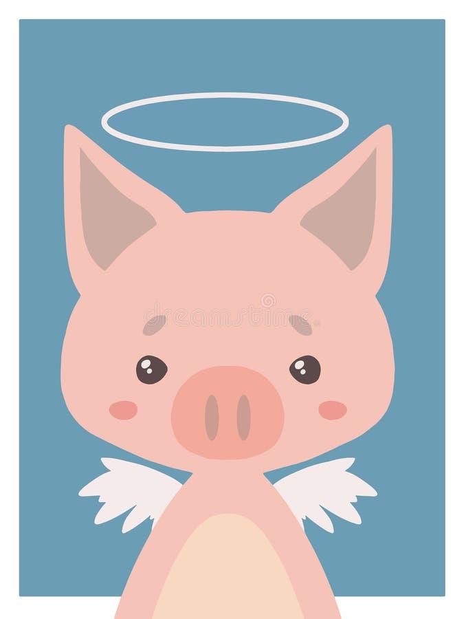 逗人喜爱的动画片称呼一头守护天使猪和翼的vecor动物图画与光晕的适用于托儿所 库存例证