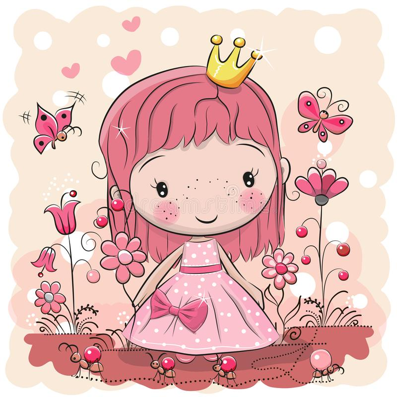 逗人喜爱的动画片童话公主 库存例证