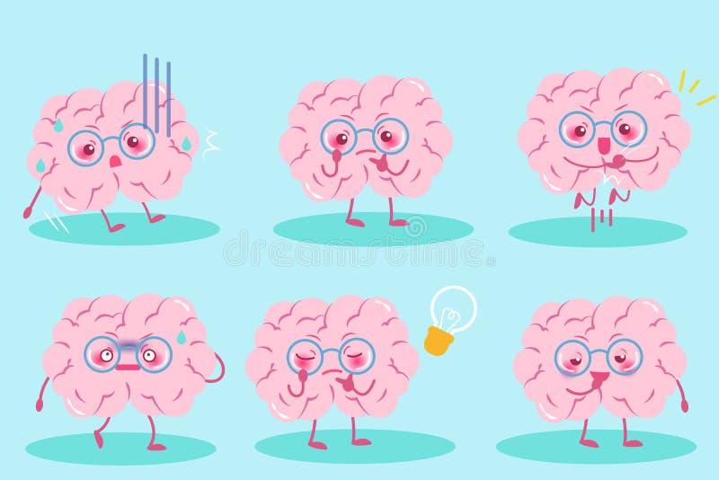 逗人喜爱的动画片脑子 向量例证