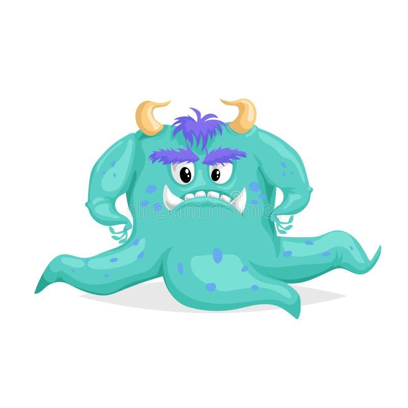 逗人喜爱的动画片蓝色妖怪 与触手的可怕字符 看恶魔有角的头足纲动物的章鱼 万圣节聚会标志 向量例证