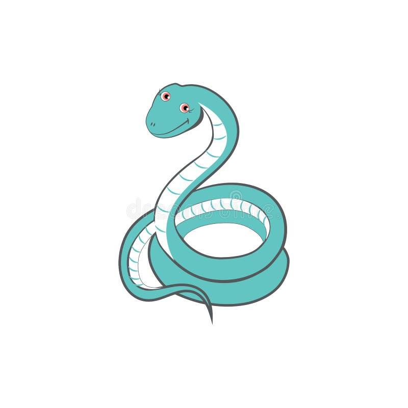 逗人喜爱的动画片蛇,哄骗野生动物传染媒介滑稽的五颜六色的异乎寻常的哺乳动物的例证,在白色背景隔绝的蛇蝎 向量例证