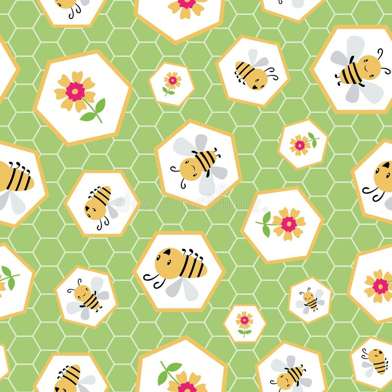 逗人喜爱的动画片蜂蜜蜂和花在任意蜂窝设计 在织地不很细绿色的六角形的无缝的传染媒介样式 向量例证