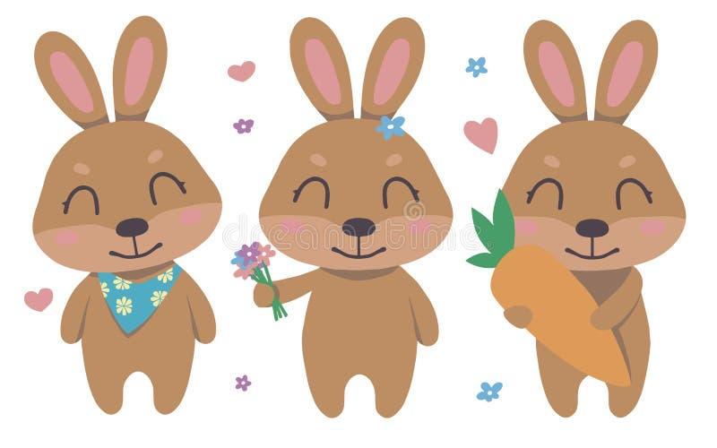 逗人喜爱的动画片褐色微笑的复活节兔子传染媒介收藏设置与花,心脏,孩子的红萝卜 皇族释放例证