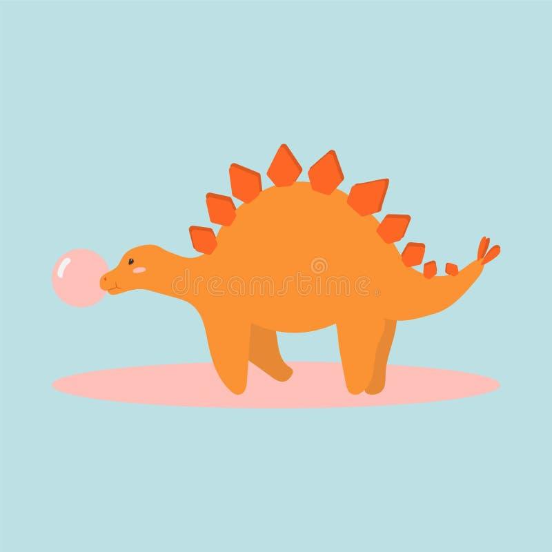 逗人喜爱的动画片迪诺字符的传染媒介例证孩子和小块书的 恐龙剑龙传染媒介颜色 向量例证