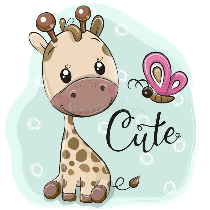 逗人喜爱的动画片长颈鹿和蝴蝶 库存例证