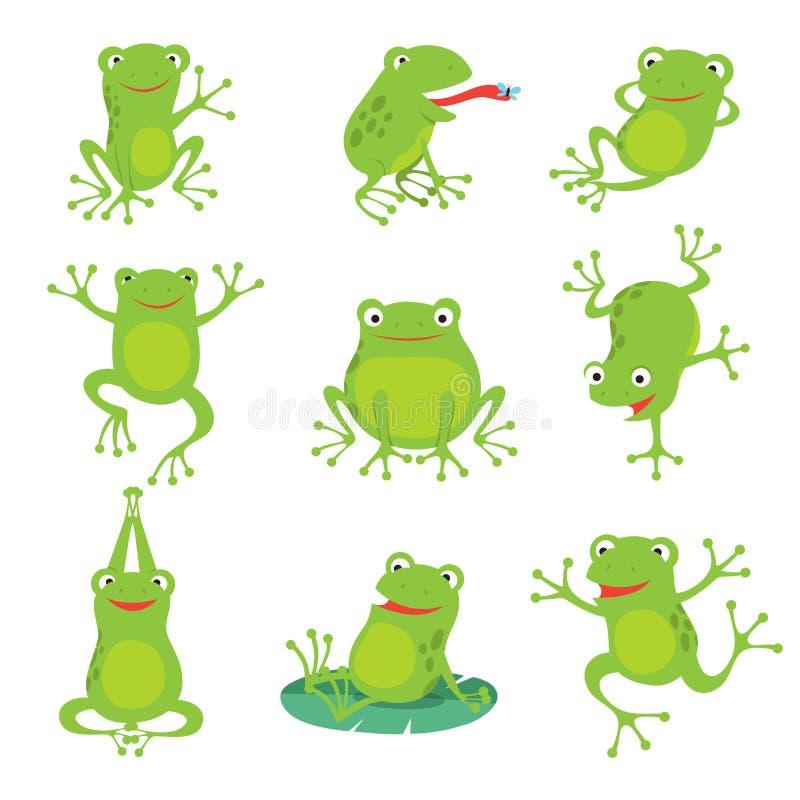 逗人喜爱的动画片青蛙 在莲花的绿色呱呱地叫的蟾蜍在池塘离开 被设置的传染媒介动物字符 向量例证