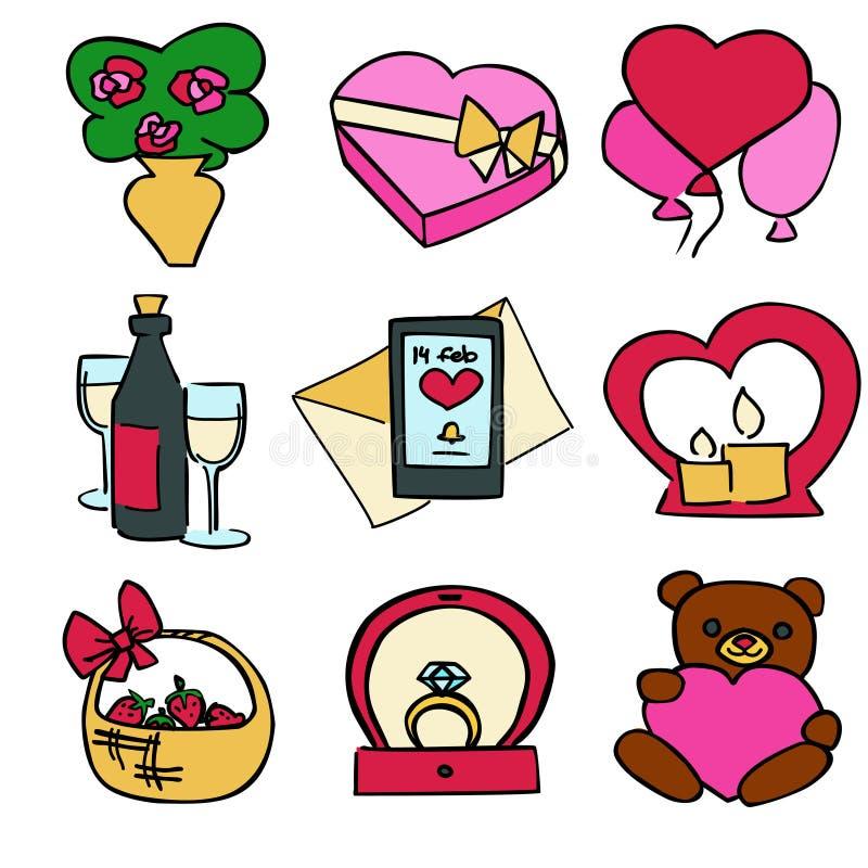 逗人喜爱的动画片颜色传染媒介情人节集合 库存例证