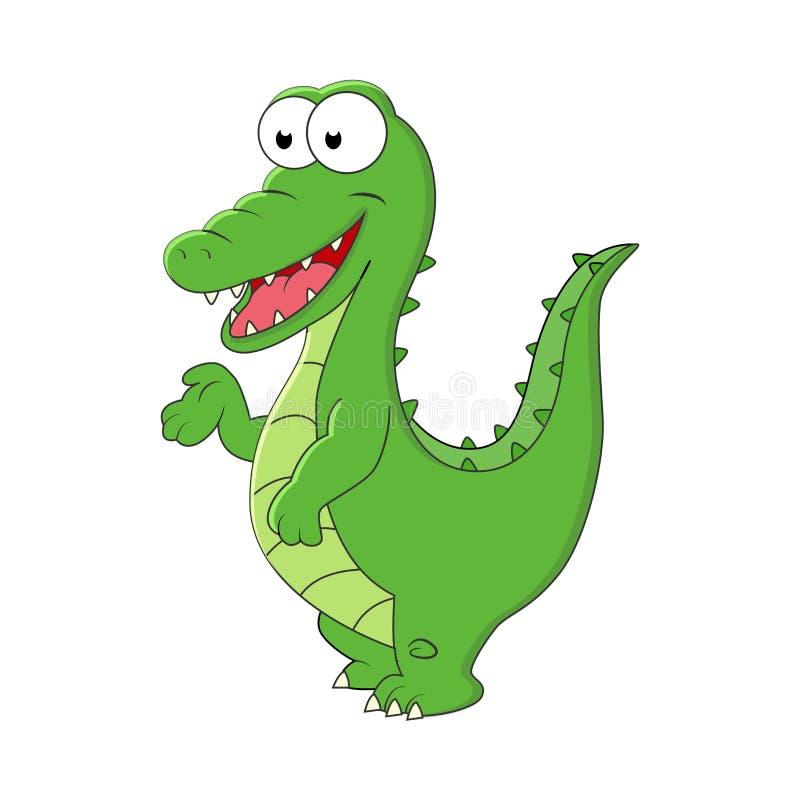 逗人喜爱的动画片鳄鱼 在白色ba隔绝的传染媒介例证 库存例证